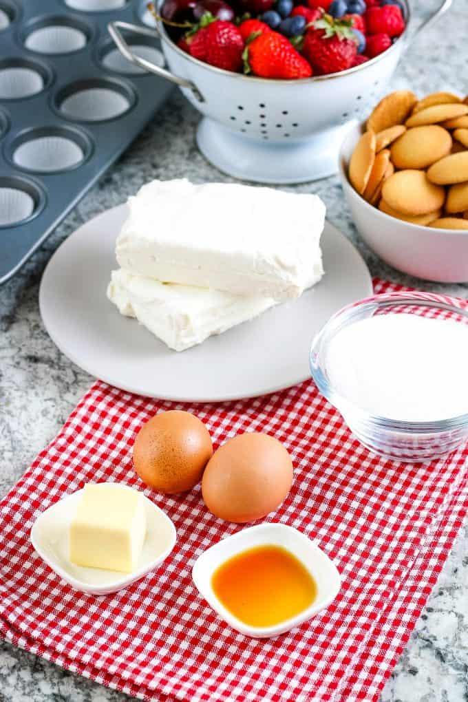 mini cheesecake ingredients - butter vanilla extract cream cheese eggs