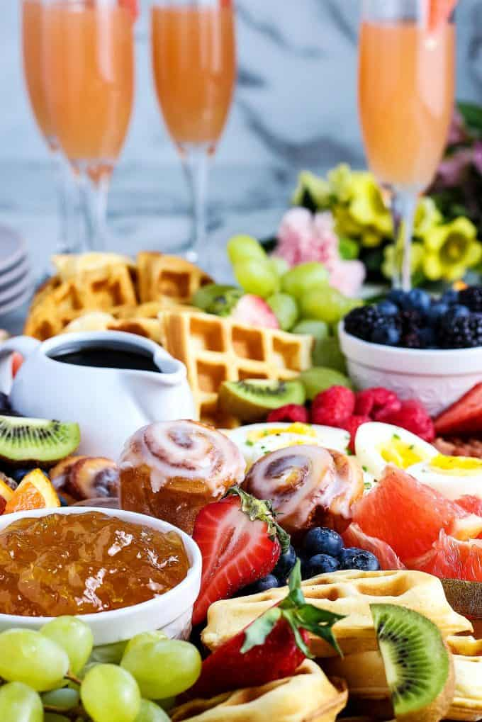 Mother's Day brunch board with grapefruit mimosas