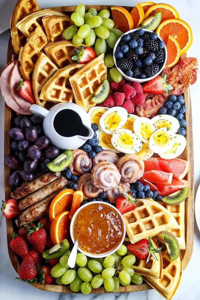 closeup overhead photo of Mother's Day charcuterie brunch board