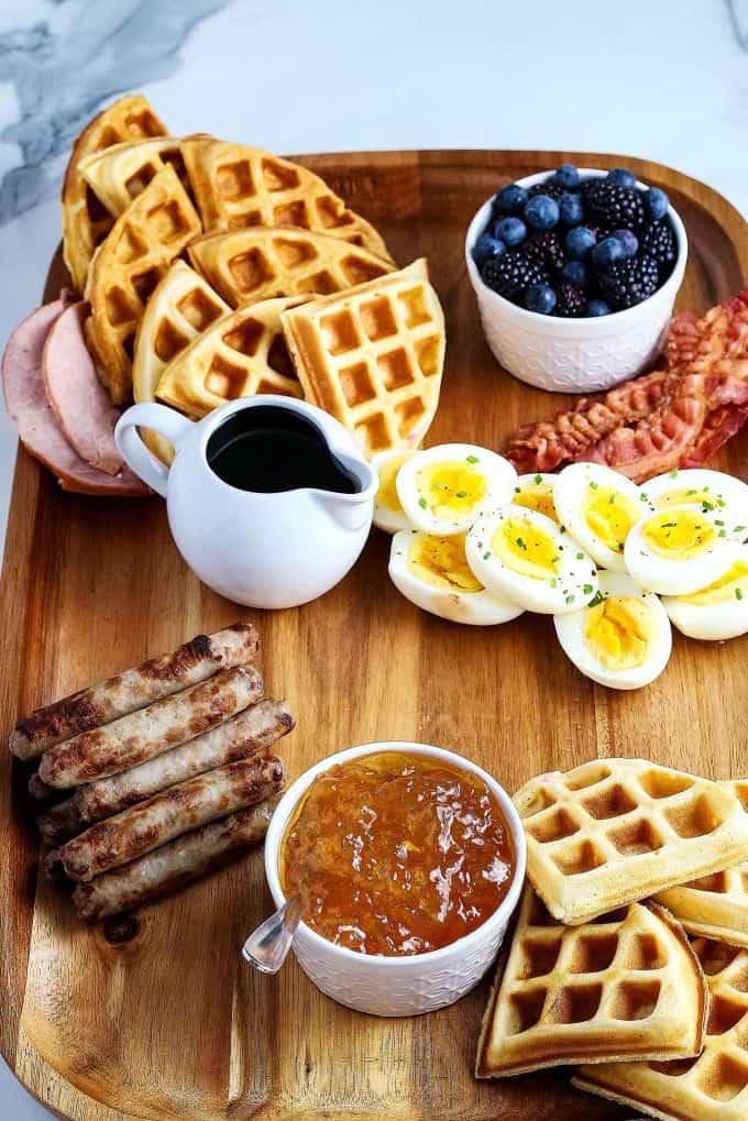 deviled egg added to brunch board