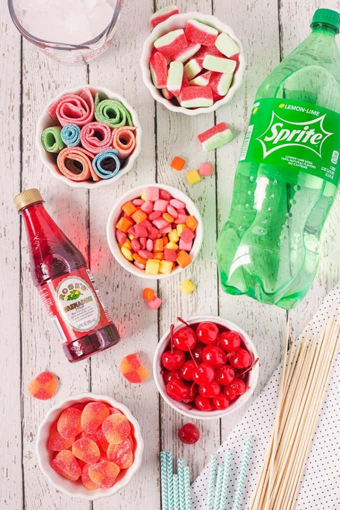 overhead photo of shirley temple ingredients